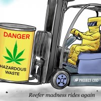 """Cartoon of a hazmat-suited person driving a forklift and whistling. The forklift is holding a yellow barrel labeled """"Danger: Hazardous Waste."""" The caption reads: """"Reefer madness rides again"""""""