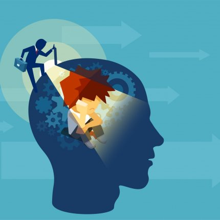 Abstract illustration of a person viewing into a mind