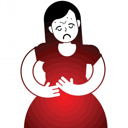 Drawing of woman with abdominal pain