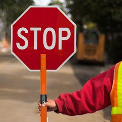 stop sign and crossing guard