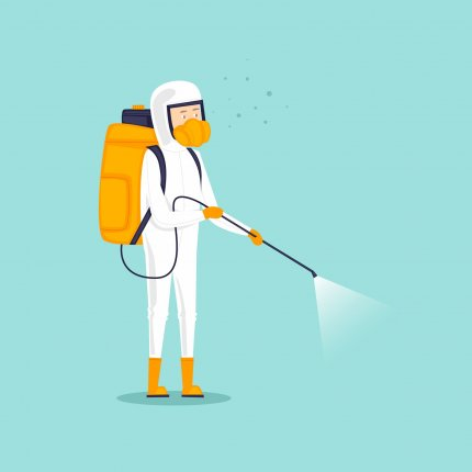 An illustration of a person in a white hazmat suit with a backpack-style sprayer on their back. They are standing and spraying on an aqua background.