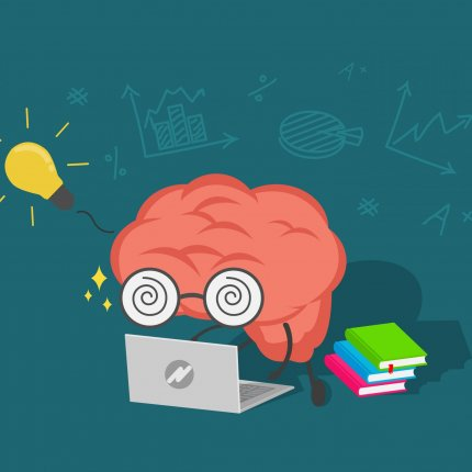 An illustration of a pink brain wearing glasses looking at a laptop with a stack of book sitting nearby. There's a lightbulb lit in the upper lefthand corner and some mathematical symbols scribbled on the background.