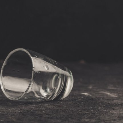 Image on an empty shot glass