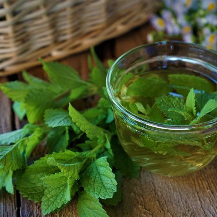 Image of fresh mint and fresh mint being infused into oil in a glass bowl. All items rest on a wooden surface. There is a wicker basket in the background.