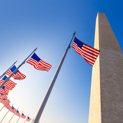 Washington monument surrounded by flags