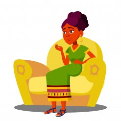 African lady sitting on couch