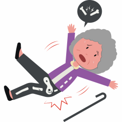 Cartoon of older woman falling