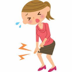 Cartoon of woman with sore knee