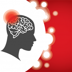 Drawing of brain with red dot