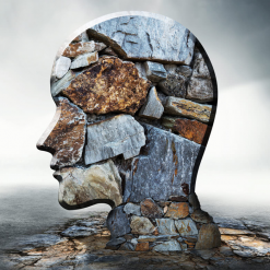 Artistic sculpture of skull made of stones