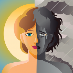 Illustration with a woman in day and night time