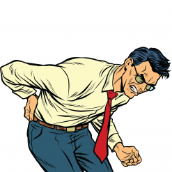 Cartoon man with back pain