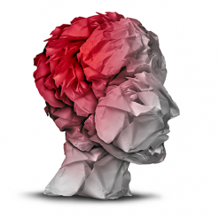 Paper collage of human head in red