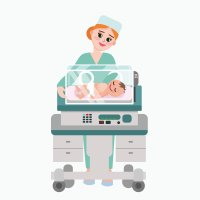 An illustration of a femal doctor observing a newborn in an incubator.