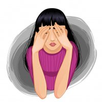 Illustration of woman covering her eyes in pain