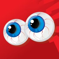 Eyeballs on a red background