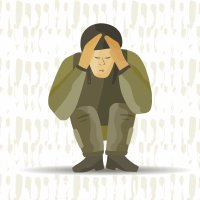 Cartoon of stressed soldier