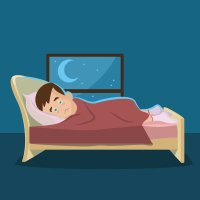 cartoon of man in bed by moon