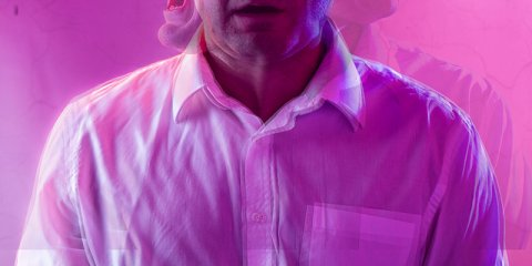 Man on pink background with 3 views