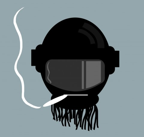 Illustration of a robot head with wires coming out of the neck smoking a cannabis joint. The head is black with a grey visor.