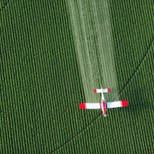 Arial view of crop-duster