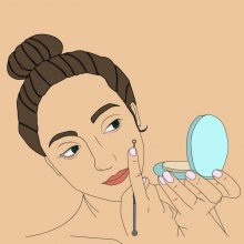 Illustration of a woman examining her skin in a hand-mirror