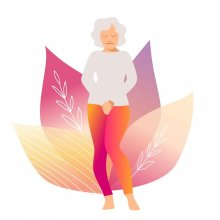 illustration of an older woman suffering from incontinence
