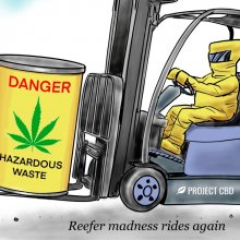 "Cartoon of a hazmat-suited person driving a forklift and whistling. The forklift is holding a yellow barrel labeled ""Danger: Hazardous Waste."" The caption reads: ""Reefer madness rides again"""
