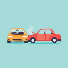 A cartoon-like illustration of a red car t-boning a yellow car on an aqua background.