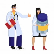 An illustration of two doctors, on female-presenting and one male presenting. She carries an giant prescription pill bottle while he gives a thumbs up and carries a clipboard.