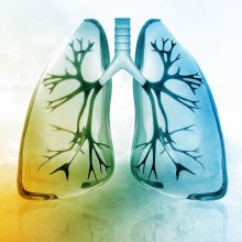 blue and yellow drawing of lungs