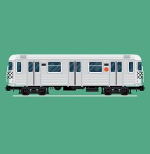 An illustration of a subway car on an acqua background.