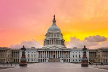The United States Capitol building in Washington DC, sunrise.