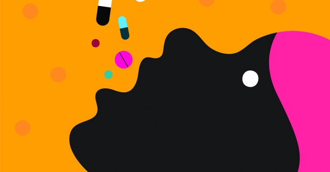 Graphic of woman taking many colorful pills