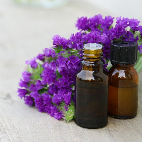 CBD oil with purple flowers