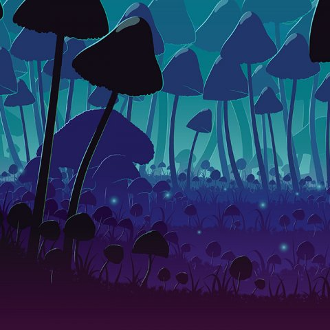 Illustration of a forest of mushrooms at night. The mushrooms are dark blue and in shadow, and dim light illuminates the background to a dark aqua.