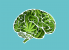 Vector of a human brain made of marijuana leaves.